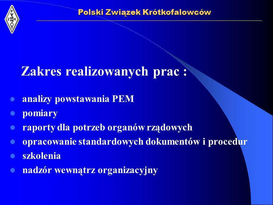 Zakres realizowanych prac : analizy powstawania PEM pomiary raporty dla potrzeb organów rządowych opracowanie standardowych dokumentów i procedur szkolenia nadzór wewnątrz organizacyjny Polski Związek Krótkofalowców