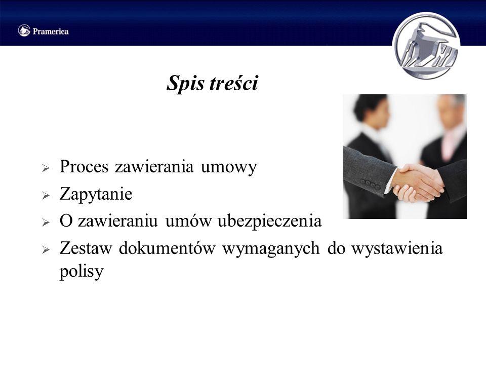 Spis treści Proces zawierania umowy Zapytanie O zawieraniu umów ubezpieczenia Zestaw dokumentów wymaganych do wystawienia polisy
