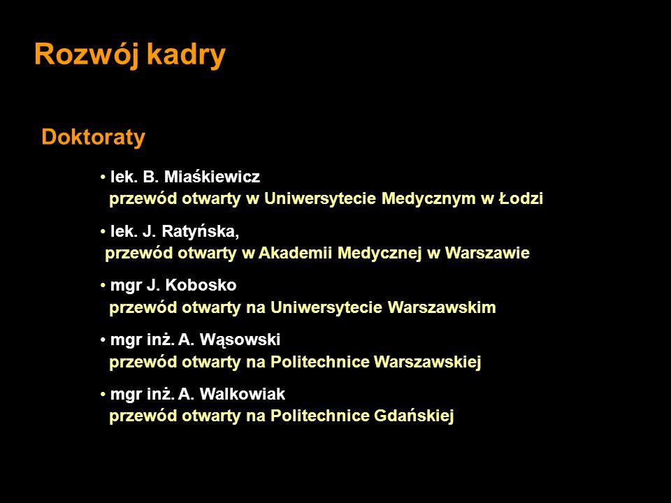 lek. B. Miaśkiewicz przewód otwarty w Uniwersytecie Medycznym w Łodzi lek. J. Ratyńska, przewód otwarty w Akademii Medycznej w Warszawie mgr J. Kobosk