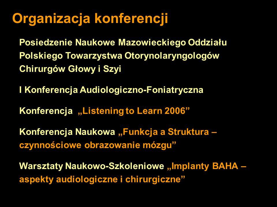 Posiedzenie Naukowe Mazowieckiego Oddziału Polskiego Towarzystwa Otorynolaryngologów Chirurgów Głowy i Szyi I Konferencja Audiologiczno-Foniatryczna K