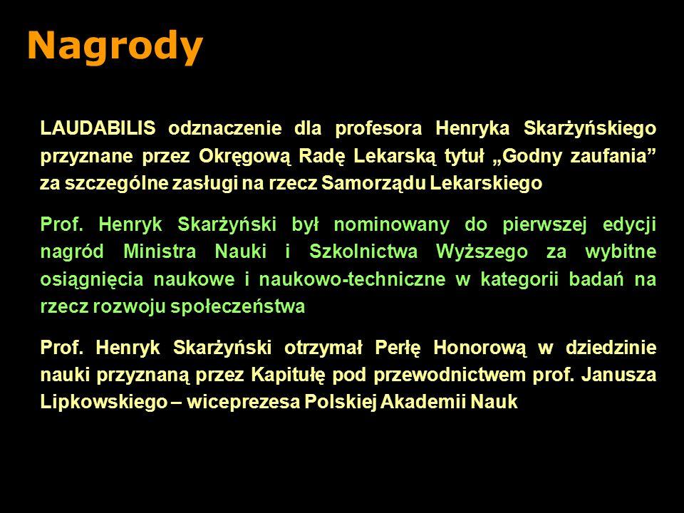 LAUDABILIS odznaczenie dla profesora Henryka Skarżyńskiego przyznane przez Okręgową Radę Lekarską tytuł Godny zaufania za szczególne zasługi na rzecz