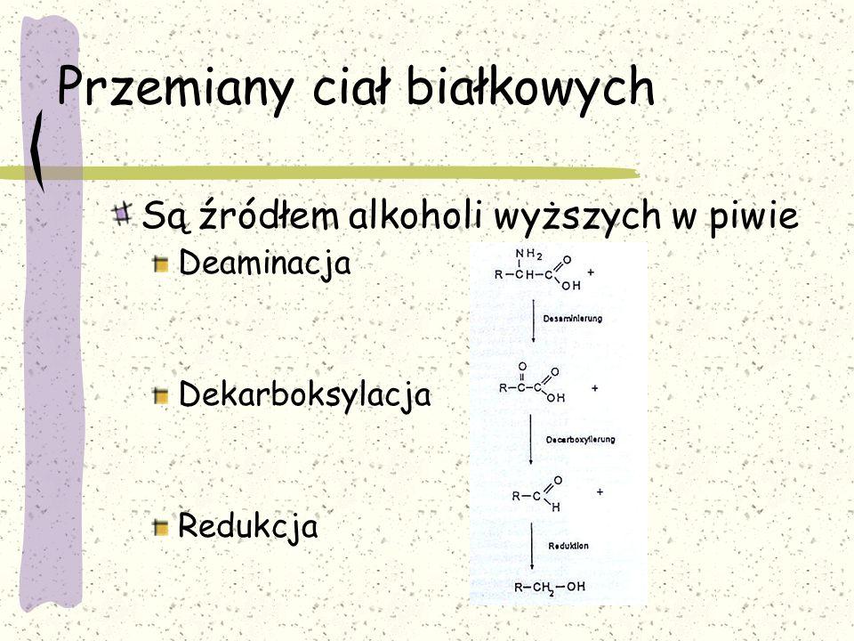 Przemiany ciał białkowych Są źródłem alkoholi wyższych w piwie Deaminacja Dekarboksylacja Redukcja