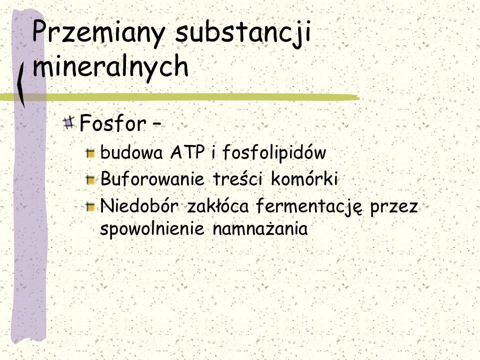 Przemiany substancji mineralnych Fosfor – budowa ATP i fosfolipidów Buforowanie treści komórki Niedobór zakłóca fermentację przez spowolnienie namnaża