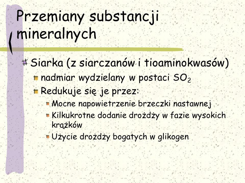 Przemiany substancji mineralnych Siarka (z siarczanów i tioaminokwasów) nadmiar wydzielany w postaci SO 2 Redukuje się je przez: Mocne napowietrzenie