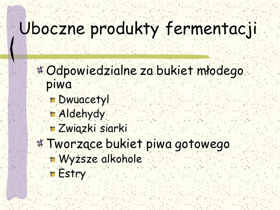 Uboczne produkty fermentacji Odpowiedzialne za bukiet młodego piwa Dwuacetyl Aldehydy Związki siarki Tworzące bukiet piwa gotowego Wyższe alkohole Est