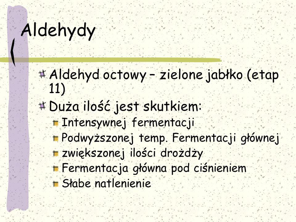 Aldehydy Aldehyd octowy – zielone jabłko (etap 11) Duża ilość jest skutkiem: Intensywnej fermentacji Podwyższonej temp. Fermentacji głównej zwiększone