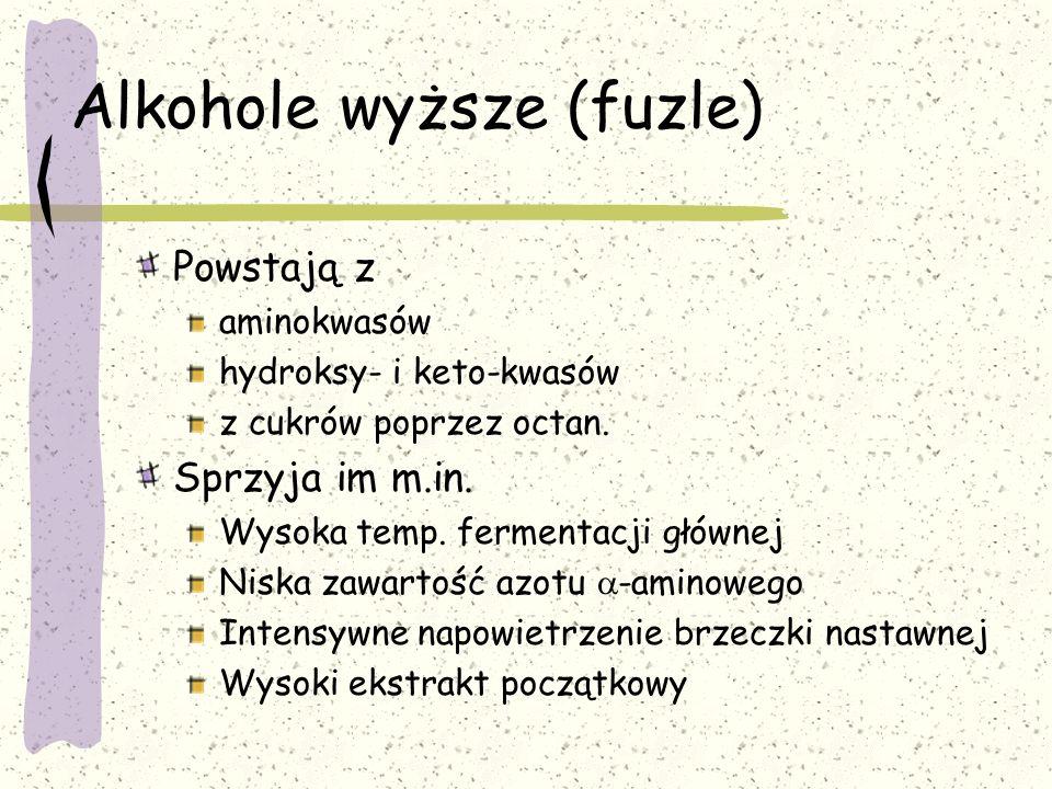 Alkohole wyższe (fuzle) Powstają z aminokwasów hydroksy- i keto-kwasów z cukrów poprzez octan. Sprzyja im m.in. Wysoka temp. fermentacji głównej Niska