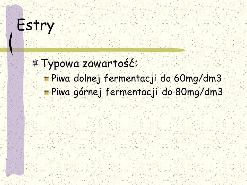 Estry Typowa zawartość: Piwa dolnej fermentacji do 60mg/dm3 Piwa górnej fermentacji do 80mg/dm3