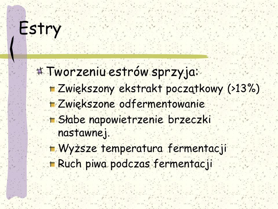 Estry Tworzeniu estrów sprzyja: Zwiększony ekstrakt początkowy (>13%) Zwiększone odfermentowanie Słabe napowietrzenie brzeczki nastawnej. Wyższe tempe