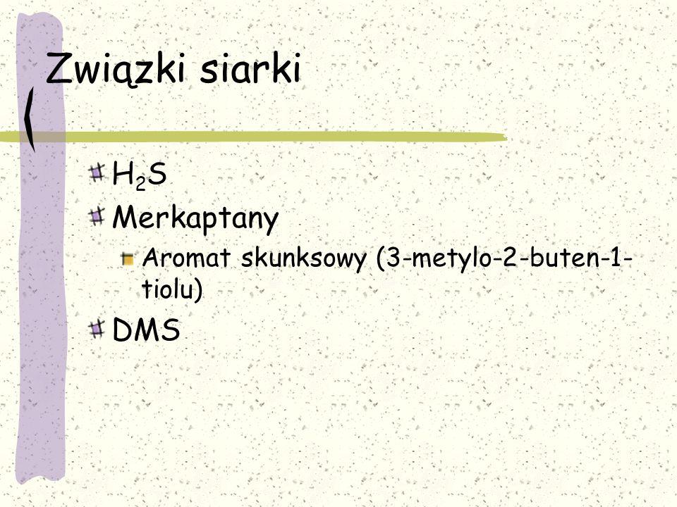 Związki siarki H 2 S Merkaptany Aromat skunksowy (3-metylo-2-buten-1- tiolu) DMS