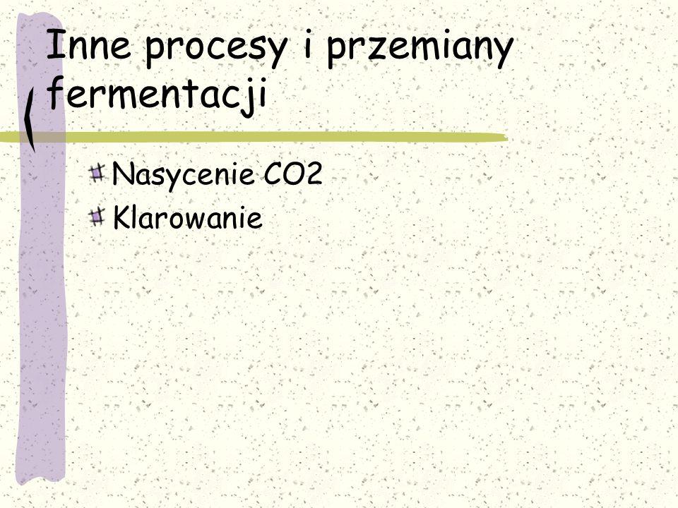 Inne procesy i przemiany fermentacji Nasycenie CO2 Klarowanie