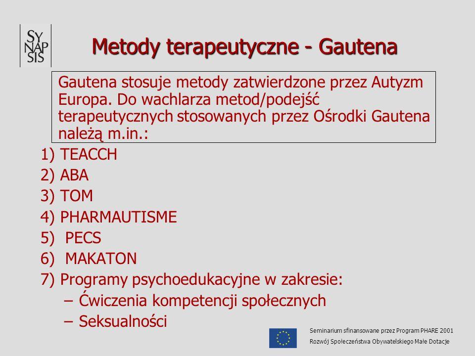 Metody terapeutyczne - Gautena Metody terapeutyczne - Gautena Gautena stosuje metody zatwierdzone przez Autyzm Europa. Do wachlarza metod/podejść tera