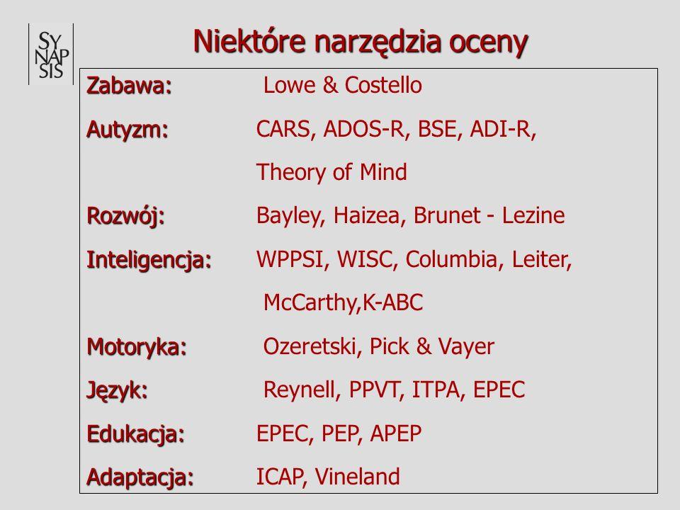 Niektóre narzędzia oceny Zabawa: Zabawa: Lowe & Costello Autyzm: Autyzm: CARS, ADOS-R, BSE, ADI-R, Theory of Mind Rozwój: Rozwój: Bayley, Haizea, Brun