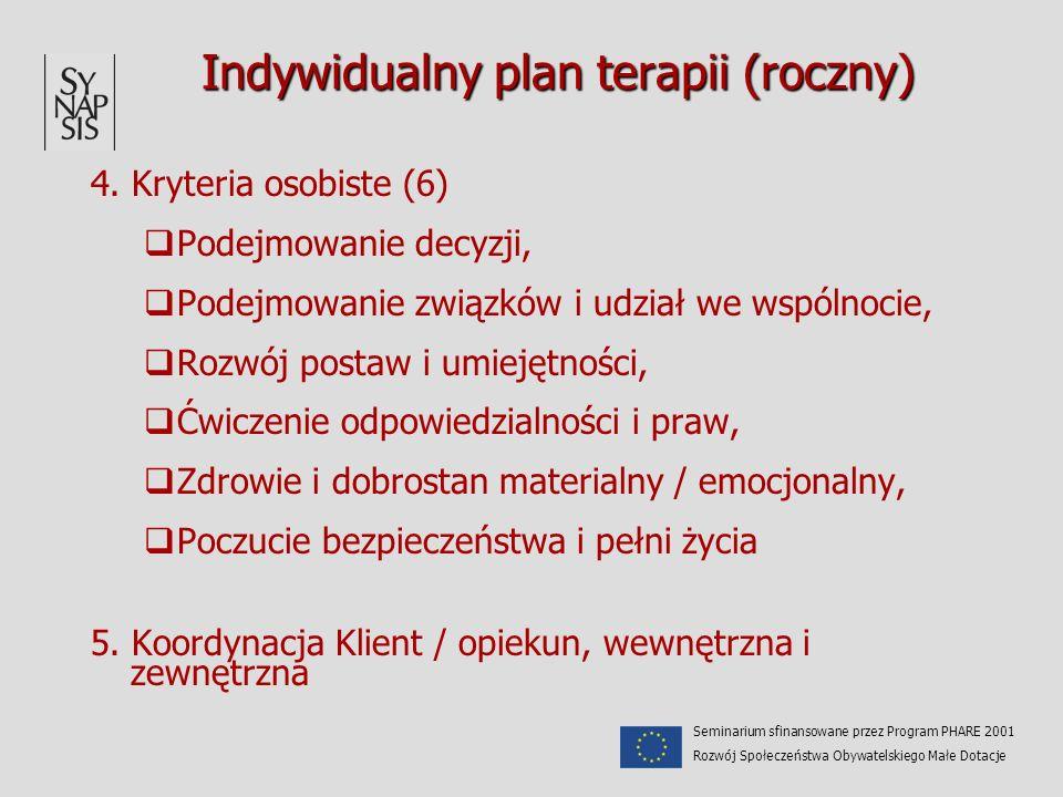 Indywidualny plan terapii (roczny) 4. Kryteria osobiste (6) Podejmowanie decyzji, Podejmowanie związków i udział we wspólnocie, Rozwój postaw i umieję