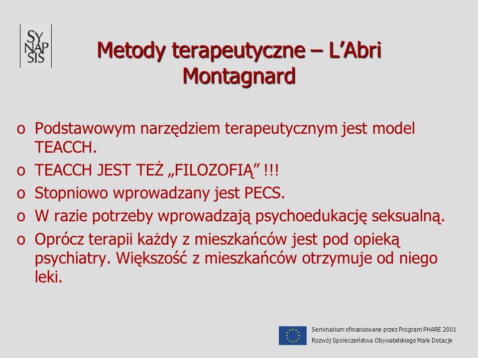 Metody terapeutyczne – LAbri Montagnard oPodstawowym narzędziem terapeutycznym jest model TEACCH. oTEACCH JEST TEŻ FILOZOFIĄ !!! oStopniowo wprowadzan