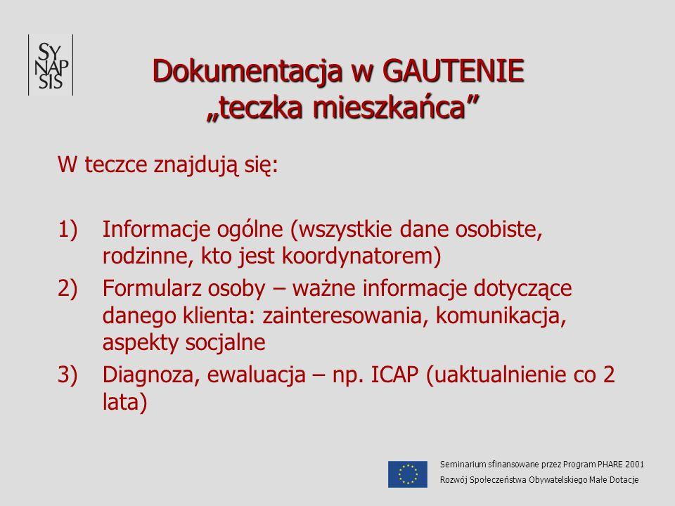 Dokumentacja w GAUTENIE teczka mieszkańca W teczce znajdują się: 1)Informacje ogólne (wszystkie dane osobiste, rodzinne, kto jest koordynatorem) 2)For