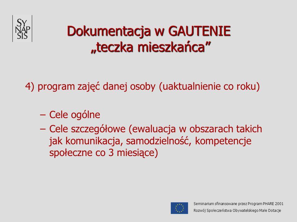 Dokumentacja w GAUTENIE teczka mieszkańca 4) program zajęć danej osoby (uaktualnienie co roku) –Cele ogólne –Cele szczegółowe (ewaluacja w obszarach t
