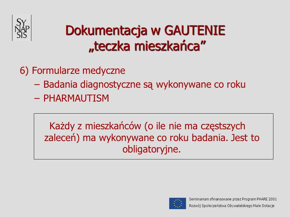 Dokumentacja w GAUTENIE teczka mieszkańca 6) Formularze medyczne –Badania diagnostyczne są wykonywane co roku –PHARMAUTISM Każdy z mieszkańców (o ile
