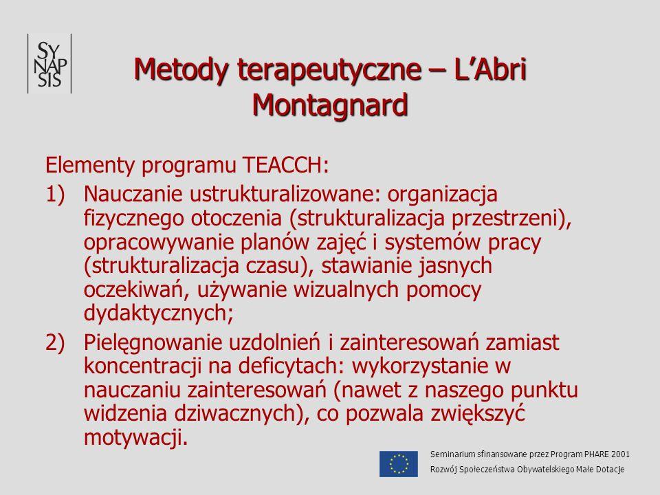 Metody terapeutyczne – LAbri Montagnard Elementy programu TEACCH: 1)Nauczanie ustrukturalizowane: organizacja fizycznego otoczenia (strukturalizacja p