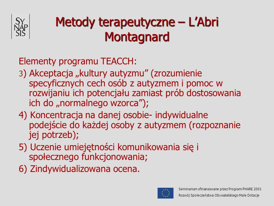 Metody terapeutyczne – LAbri Montagnard Elementy programu TEACCH: 3 ) Akceptacja kultury autyzmu (zrozumienie specyficznych cech osób z autyzmem i pom