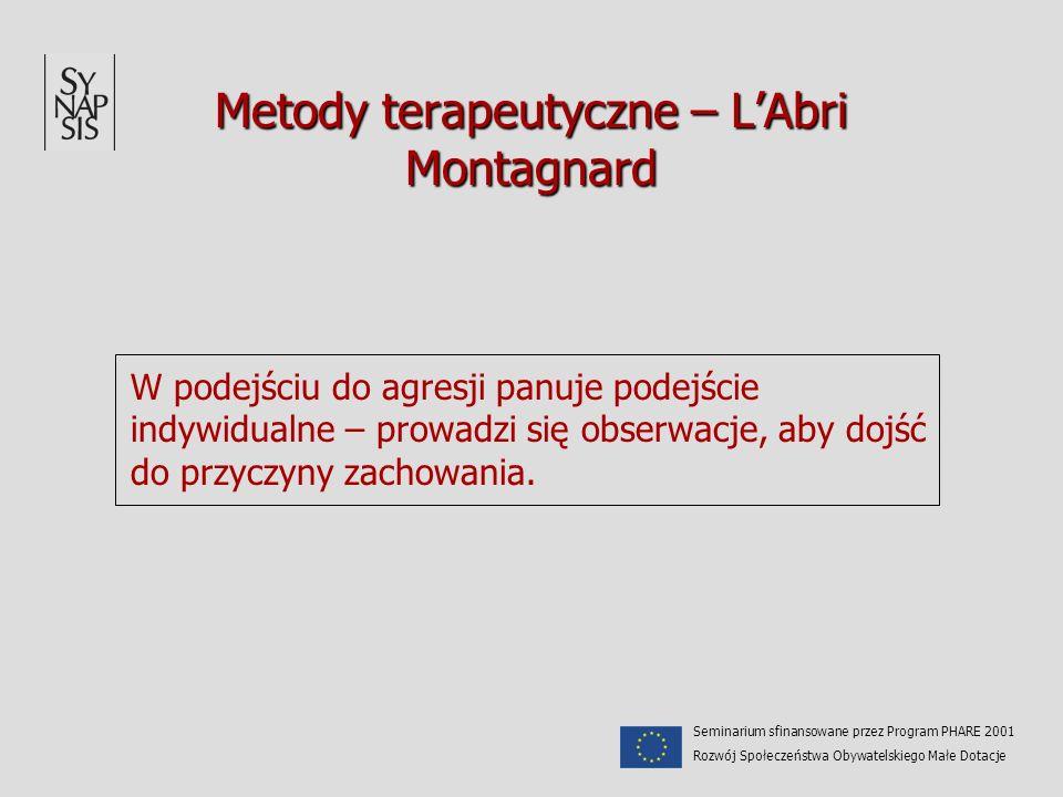 Metody terapeutyczne – LAbri Montagnard W podejściu do agresji panuje podejście indywidualne – prowadzi się obserwacje, aby dojść do przyczyny zachowa
