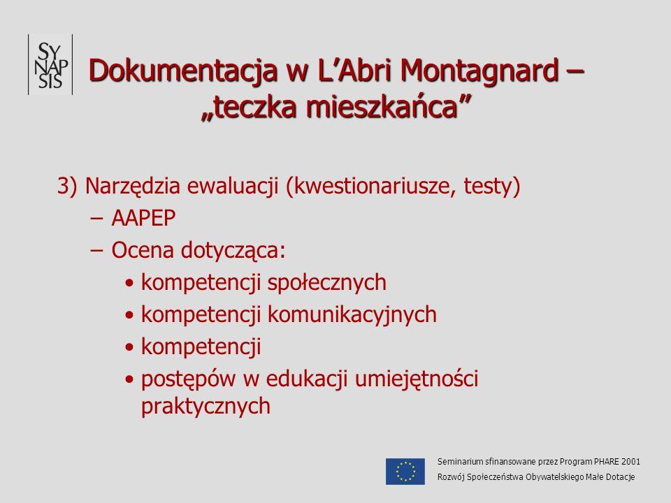 Dokumentacja w LAbri Montagnard – teczka mieszkańca 3) Narzędzia ewaluacji (kwestionariusze, testy) –AAPEP –Ocena dotycząca: kompetencji społecznych k