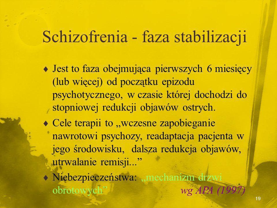 18 Schizofrenia - faza ostra Jest to faza w której pacjent wykazuje wyraźne objawy psychotyczne. Cele terapii to zapobieganie przejawom zagrażającym p