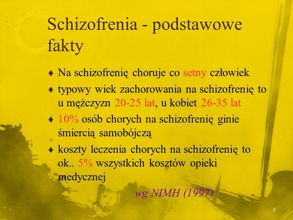2 Schizofrenia - podstawowe fakty Na schizofrenię choruje co setny człowiek typowy wiek zachorowania na schizofrenię to u mężczyzn 20-25 lat, u kobiet 26-35 lat 10% osób chorych na schizofrenię ginie śmiercią samobójczą koszty leczenia chorych na schizofrenię to ok..