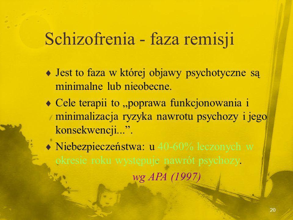 19 Schizofrenia - faza stabilizacji Jest to faza obejmująca pierwszych 6 miesięcy (lub więcej) od początku epizodu psychotycznego, w czasie której doc