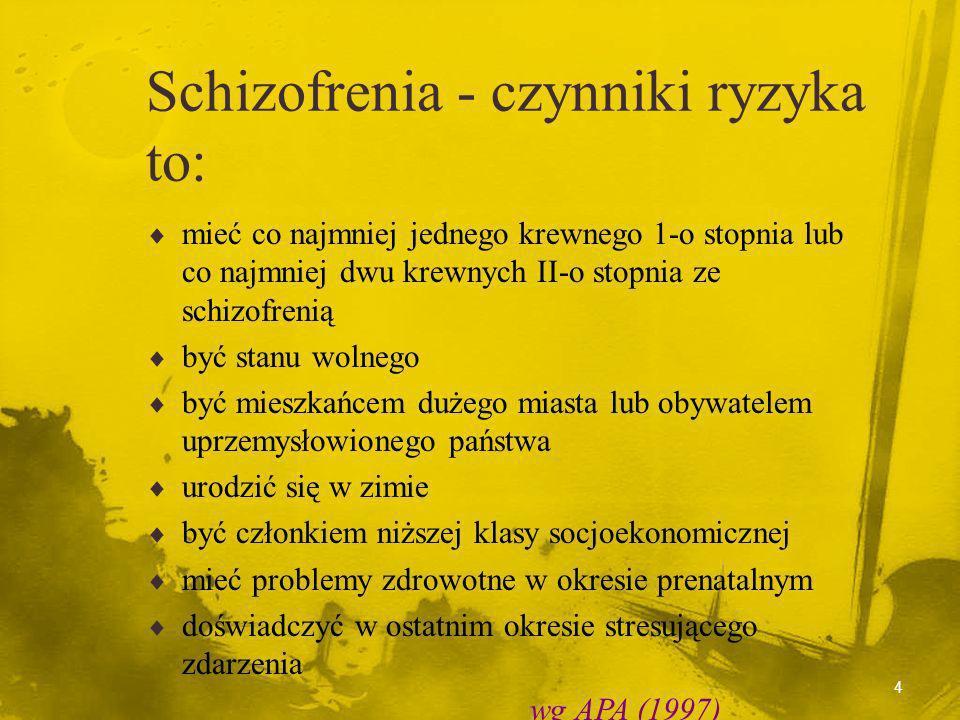 4 Schizofrenia - czynniki ryzyka to: mieć co najmniej jednego krewnego 1-o stopnia lub co najmniej dwu krewnych II-o stopnia ze schizofrenią być stanu wolnego być mieszkańcem dużego miasta lub obywatelem uprzemysłowionego państwa urodzić się w zimie być członkiem niższej klasy socjoekonomicznej mieć problemy zdrowotne w okresie prenatalnym doświadczyć w ostatnim okresie stresującego zdarzenia wg APA (1997)