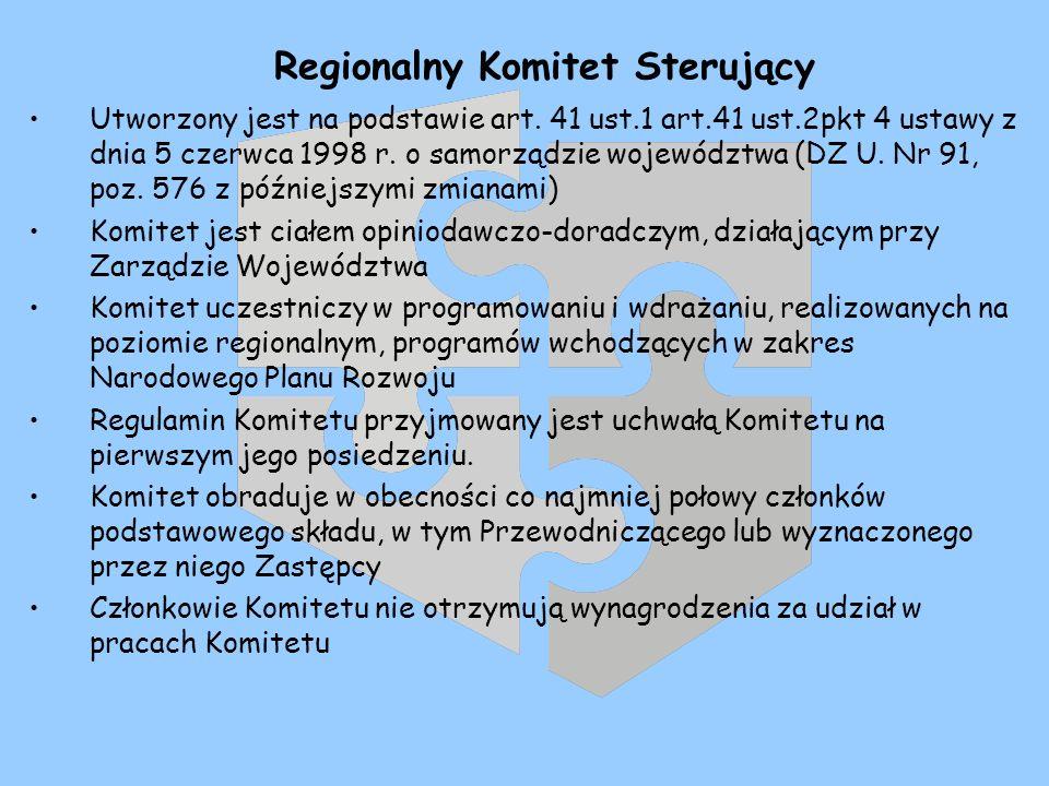 Regionalny Komitet Sterujący Utworzony jest na podstawie art. 41 ust.1 art.41 ust.2pkt 4 ustawy z dnia 5 czerwca 1998 r. o samorządzie województwa (DZ
