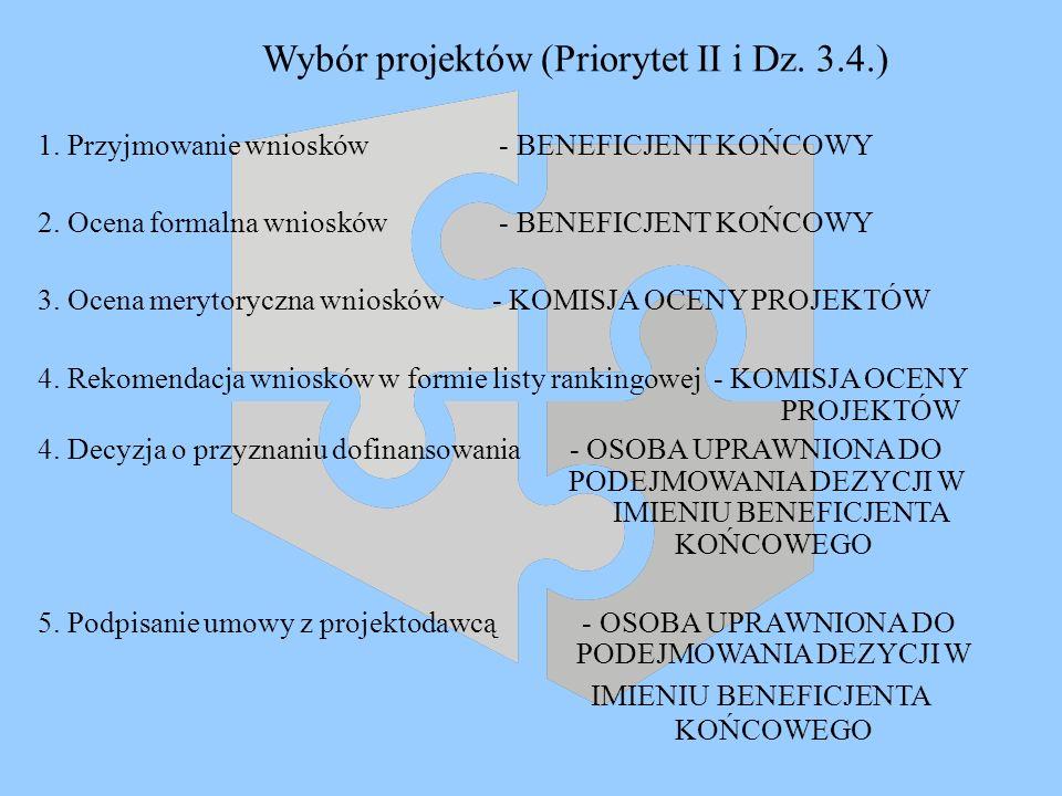 Wybór projektów (Priorytet II i Dz. 3.4.) 1. Przyjmowanie wniosków - BENEFICJENT KOŃCOWY 2. Ocena formalna wniosków - BENEFICJENT KOŃCOWY 3. Ocena mer