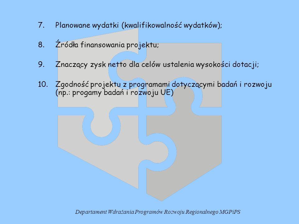 7.Planowane wydatki (kwalifikowalność wydatków); 8.Źródła finansowania projektu; 9.Znaczący zysk netto dla celów ustalenia wysokości dotacji; 10.Zgodn