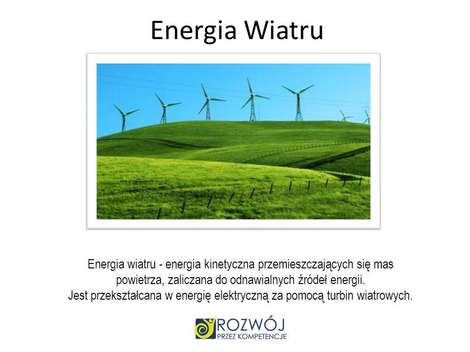 Źródła energii odnawialnej promieniowanie słoneczne (energia słoneczna), energia rozszczepienia pierwiastków promieniotwórczych, energia wiatru (energ