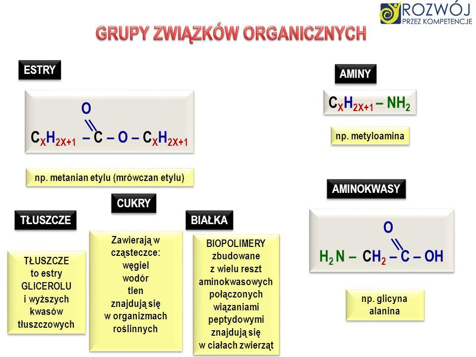 ALKANY ALKENY ALKINY WĘGLOWODORY nasycone nienasycone C X H 2X+2 C X H 2X C X H 2X – 2 ALKOHOLE monohydroksylowe C X H 2X+1 –O –H ALKOHOLANY C X H 2X+