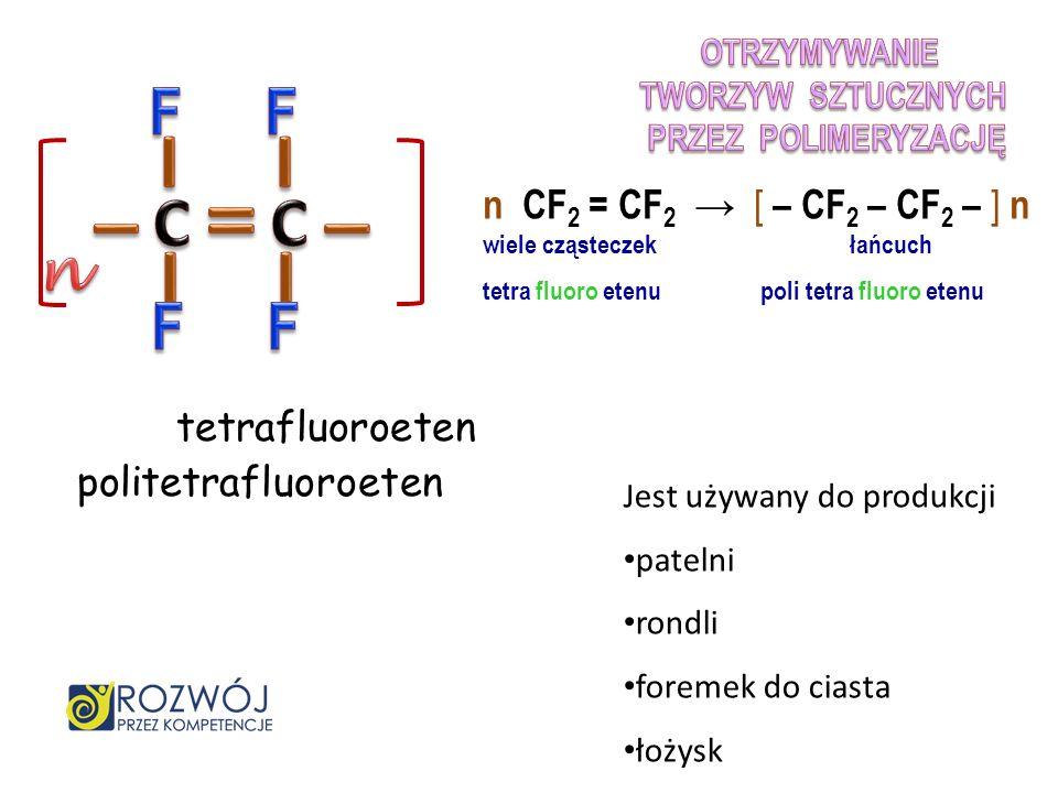 chloroeten polichloroeten (PCV) Jest używany do produkcji wykładzin podłogowych rur kanalizacyjnych ram okiennych i drzwiowych n CH 2 = CHCl [ – CH 2