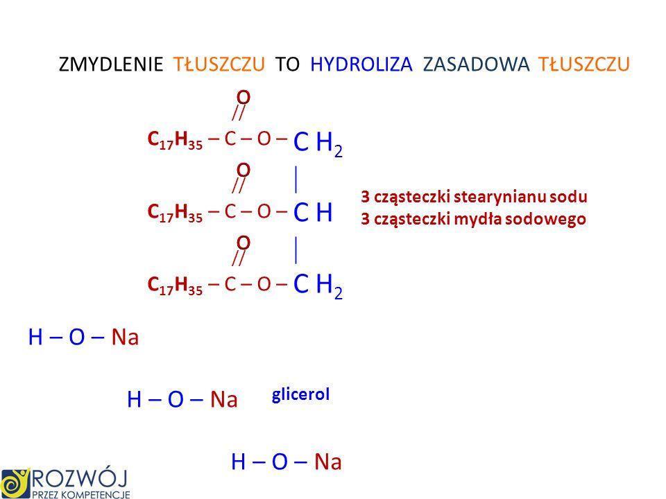 O // H – C – O – – K + – C H 3 H – O mrówczan potasu metanol mrówczanu metylu HYDROLIZA ZASADOWA ESTRU