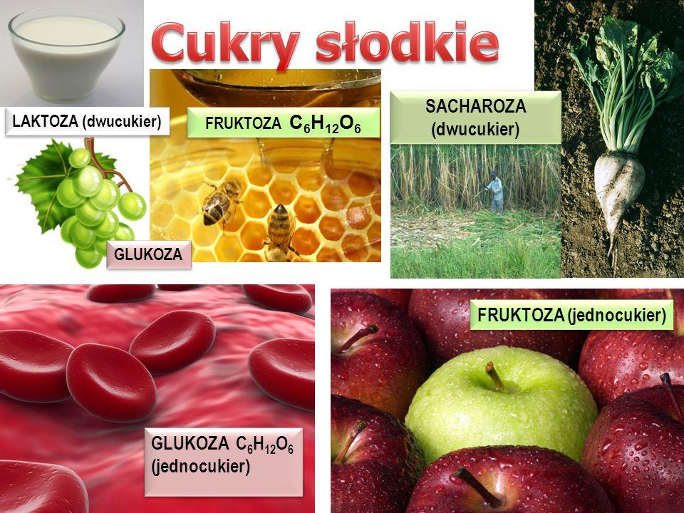 1 - cukry 2 - cukry wielocukry słodkie rozpuszczalne krystaliczne słodkie rozpuszczalne krystaliczne glukoza fruktoza sacharoza maltoza laktoza bez sm