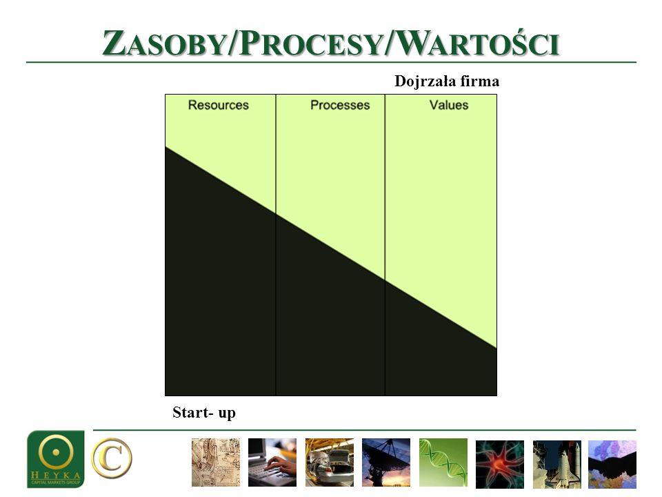 Z ASOBY /P ROCESY /W ARTOŚCI Start- up Dojrzała firma