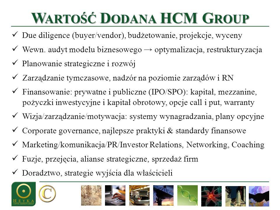 W ARTOŚĆ D ODANA HCM G ROUP Due diligence (buyer/vendor), budżetowanie, projekcje, wyceny Wewn. audyt modelu biznesowego optymalizacja, restrukturyzac