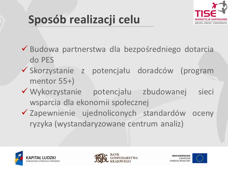 Sposób realizacji celu Budowa partnerstwa dla bezpośredniego dotarcia do PES Skorzystanie z potencjału doradców (program mentor 55+) Wykorzystanie potencjału zbudowanej sieci wsparcia dla ekonomii społecznej Zapewnienie ujednoliconych standardów oceny ryzyka (wystandaryzowane centrum analiz)