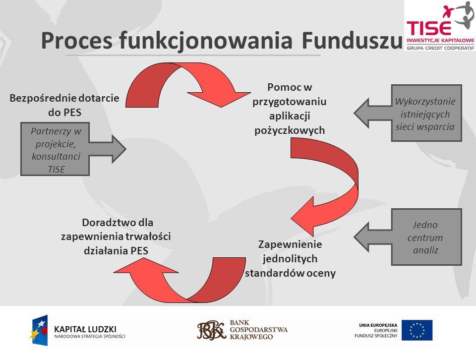 Proces funkcjonowania Funduszu Pomoc w przygotowaniu aplikacji pożyczkowych Zapewnienie jednolitych standardów oceny Doradztwo dla zapewnienia trwałości działania PES Bezpośrednie dotarcie do PES Wykorzystanie istniejących sieci wsparcia Jedno centrum analiz Partnerzy w projekcie, konsultanci TISE