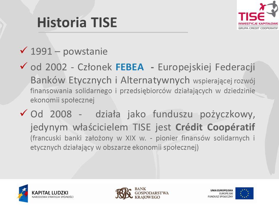 Historia TISE 1991 – powstanie od 2002 - Członek FEBEA - Europejskiej Federacji Banków Etycznych i Alternatywnych wspierającej rozwój finansowania solidarnego i przedsiębiorców działających w dziedzinie ekonomii społecznej Od 2008 - działa jako funduszu pożyczkowy, jedynym właścicielem TISE jest Crédit Coopératif (francuski banki założony w XIX w.