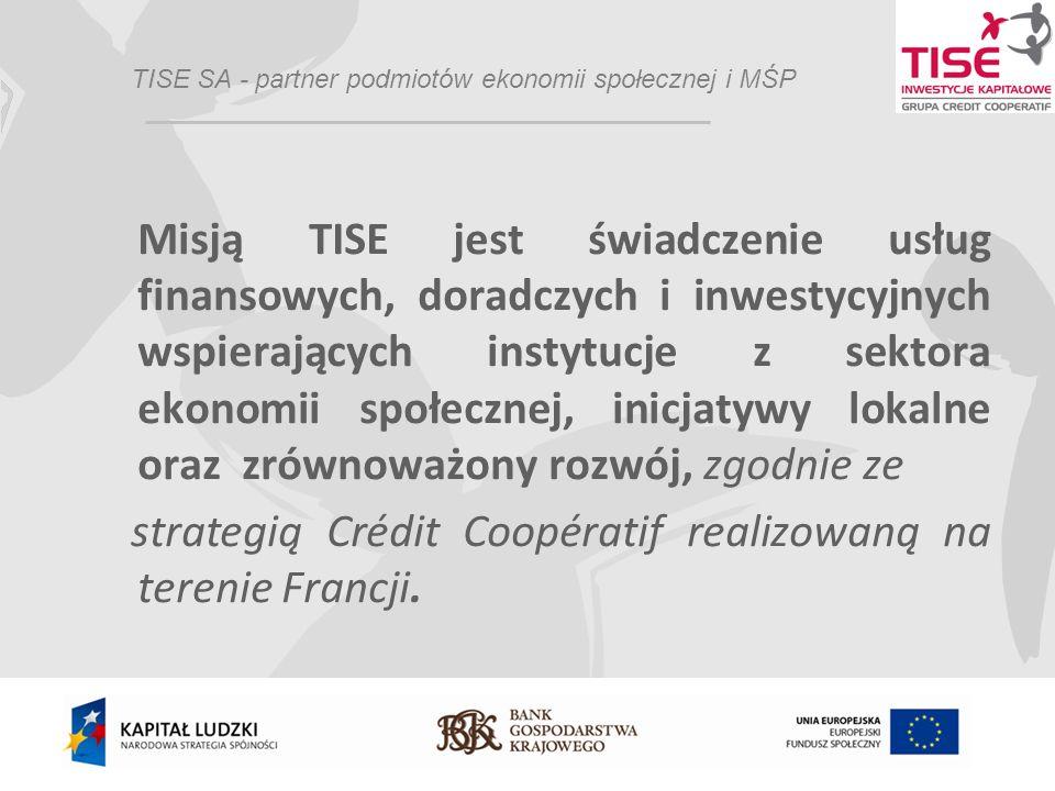 Obszar działalności TISE Działalność pożyczkowa dla podmiotów ekonomii społecznej oraz mikro, małych i średnich przedsiębiorstw; Zarządzanie funduszami pożyczkowymi dla mikro, małych i średnich przedsiębiorstw w ramach inicjatywy JEREMIE oraz Regionalnego Programu Operacyjnego Rozwój Polski Wschodniej Zarządzanie belgijskim Funduszem wspierającym ekonomię społeczną w Europie Środkowej i Wschodniej - CoopEst
