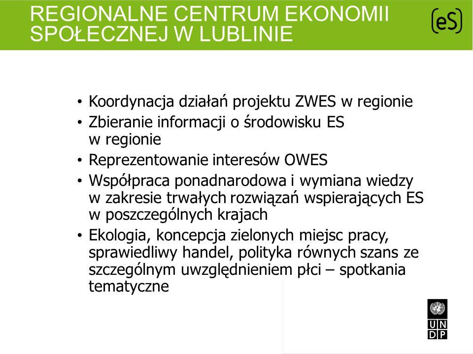 REGIONALNE CENTRUM EKONOMII SPOŁECZNEJ W LUBLINIE Koordynacja działań projektu ZWES w regionie Zbieranie informacji o środowisku ES w regionie Repreze