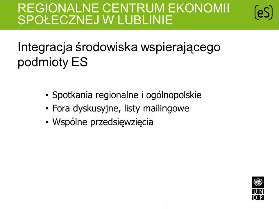 REGIONALNE CENTRUM EKONOMII SPOŁECZNEJ W LUBLINIE Integracja środowiska wspierającego podmioty ES Spotkania regionalne i ogólnopolskie Fora dyskusyjne