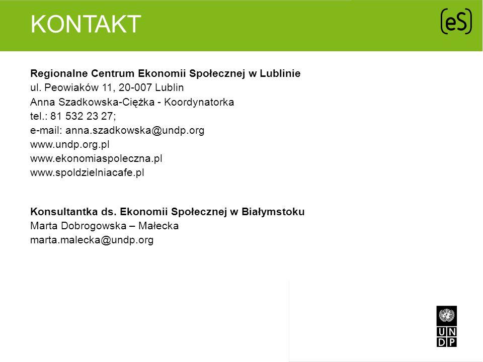 KONTAKT Regionalne Centrum Ekonomii Społecznej w Lublinie ul. Peowiaków 11, 20-007 Lublin Anna Szadkowska-Ciężka - Koordynatorka tel.: 81 532 23 27; e