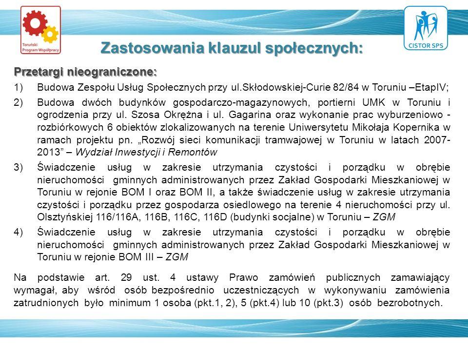 Zastosowania klauzul społecznych: Przetargi nieograniczone: 1)Budowa Zespołu Usług Społecznych przy ul.Skłodowskiej-Curie 82/84 w Toruniu –EtapIV; 2)B