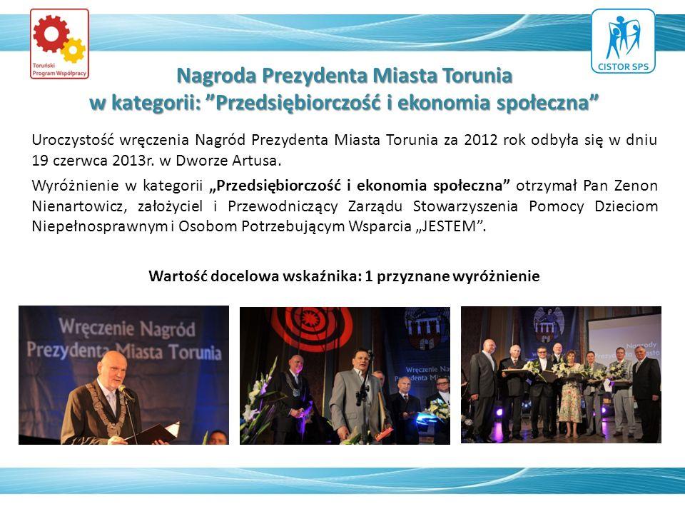 Nagroda Prezydenta Miasta Torunia w kategorii: Przedsiębiorczość i ekonomia społeczna Uroczystość wręczenia Nagród Prezydenta Miasta Torunia za 2012 rok odbyła się w dniu 19 czerwca 2013r.
