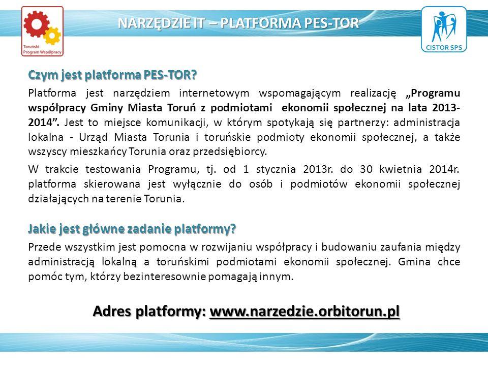 Czym jest platforma PES-TOR? Platforma jest narzędziem internetowym wspomagającym realizację Programu współpracy Gminy Miasta Toruń z podmiotami ekono